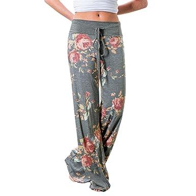 Mujer Pantalones Anchos de Pierna Pantalón Floral Impreso Suave Yoga Fitness Deportes Tallas Grandes S-3XL Gris Claro 3XL