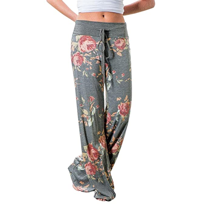 Mujer Pantalones Anchos de Pierna Pantalón Floral Impreso Suave Yoga Fitness Deportes Tallas Grandes S-3XL Gris Claro L