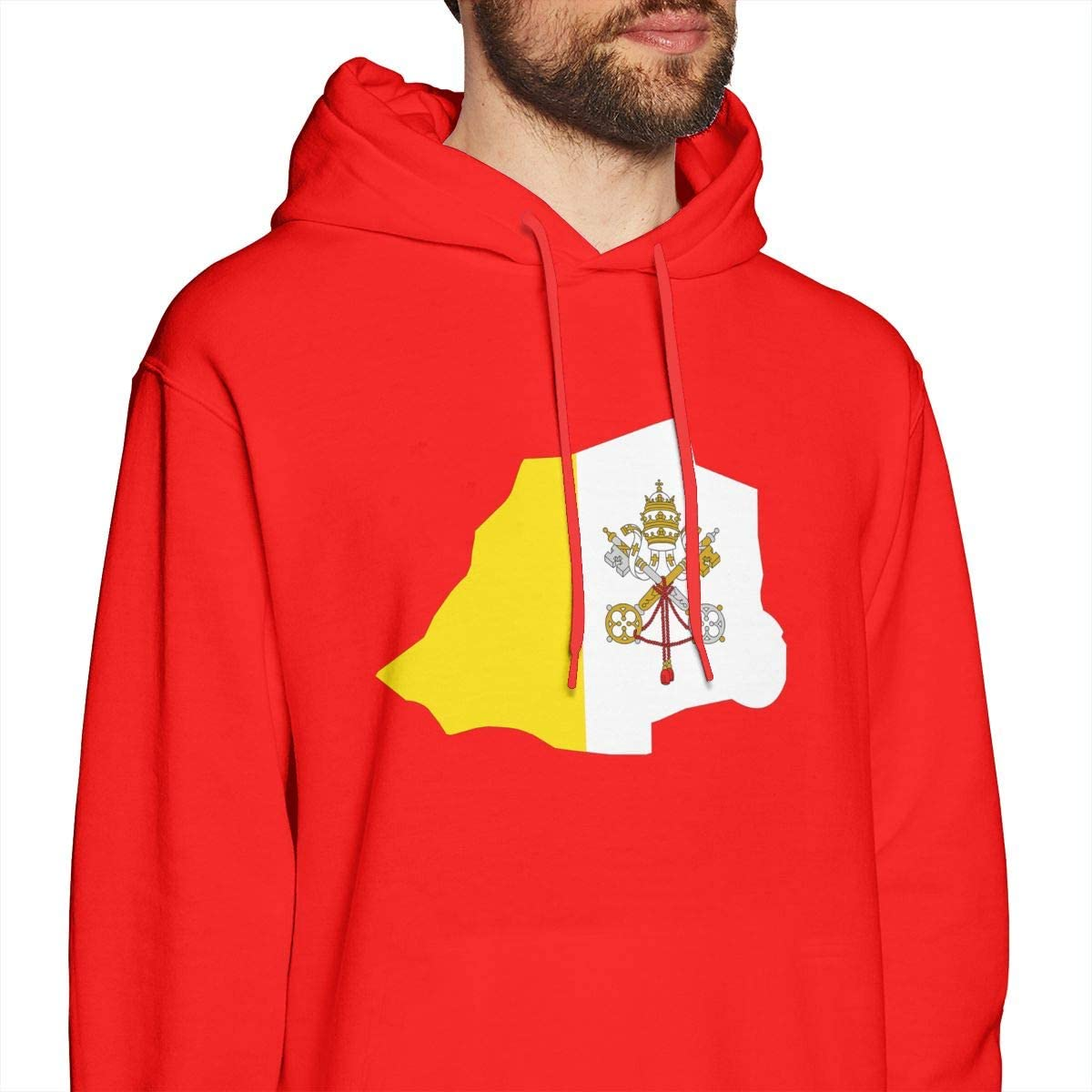 Mens Hoodies Vatican Flag Map Fashion Pullover Hooded Print Sweatshirt Jackets