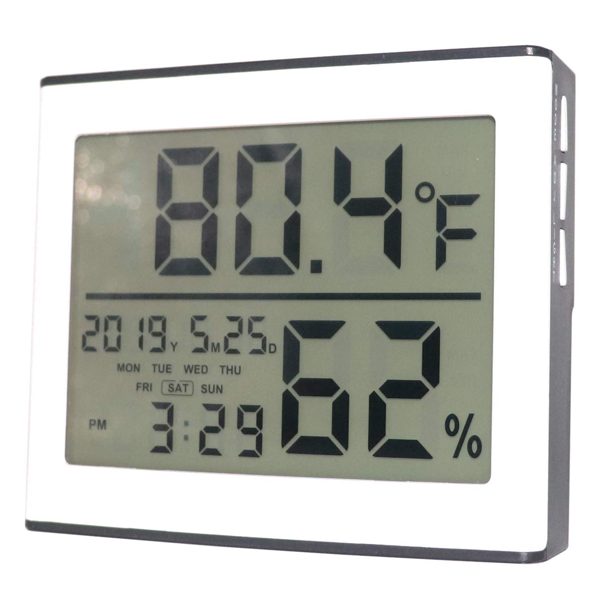 Hguangs Thermometer Hygrometer Digital Temperature Humidity Meter Indoor Hygrometer Thermometer with Clock Calendar Alarm Backlight