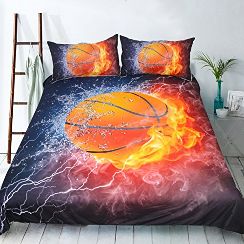 Basketball Print 3D Bedding Sets Twin Size for Kids,Basketball on Fire Flame Burning,Sports Decor 3pcs Quilt/Duvet Cover Sets with Pillowcase (basketball, Full 3pcs)
