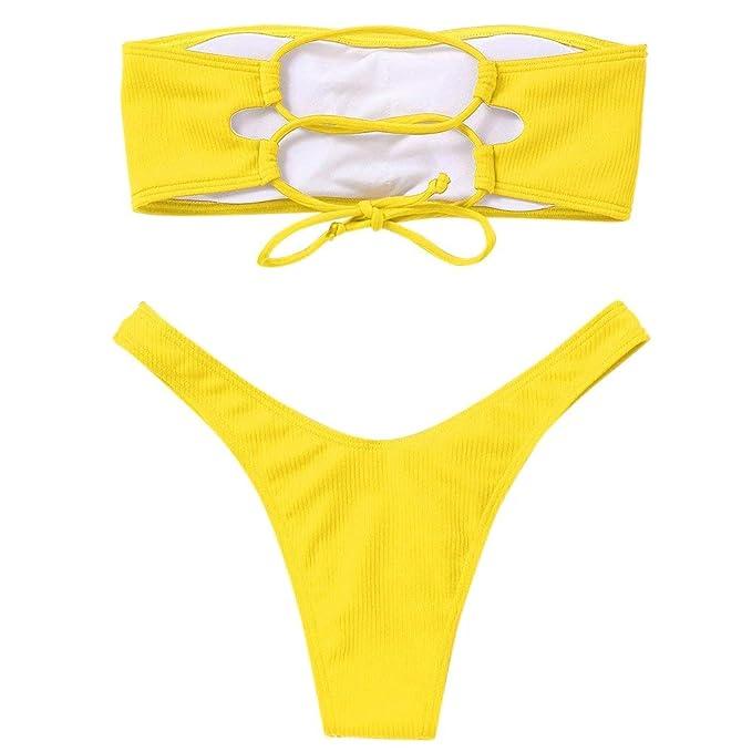 Voqeen Mujeres Sexy Bandeau Traje de baño Cuello Alto sin Tirantes ...
