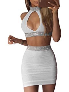 2b26bf10af681 Glamaker Women s Sexy 2 Piece Outfits Choker Crop Top and Skirt Clubwear
