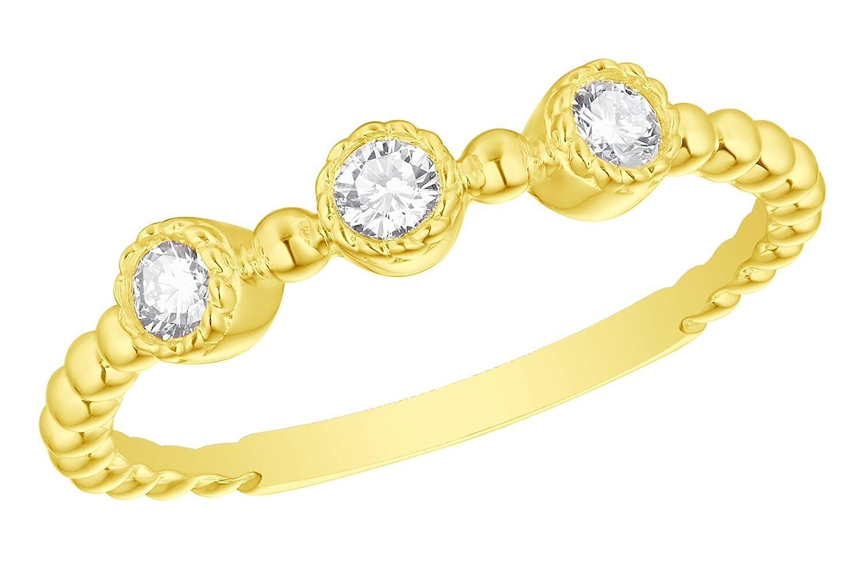 Prism Jewel 0.20 Carat G-H//I1 Round Natural Three Diamond Ring