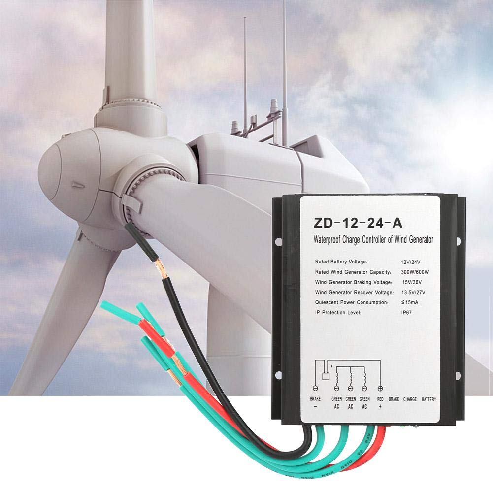 Controlador de carga de viento Durable Alta eficiencia 12V//24V Controlador de carga de generador de viento a prueba de agua Controlador de viento para el hogar Industrial