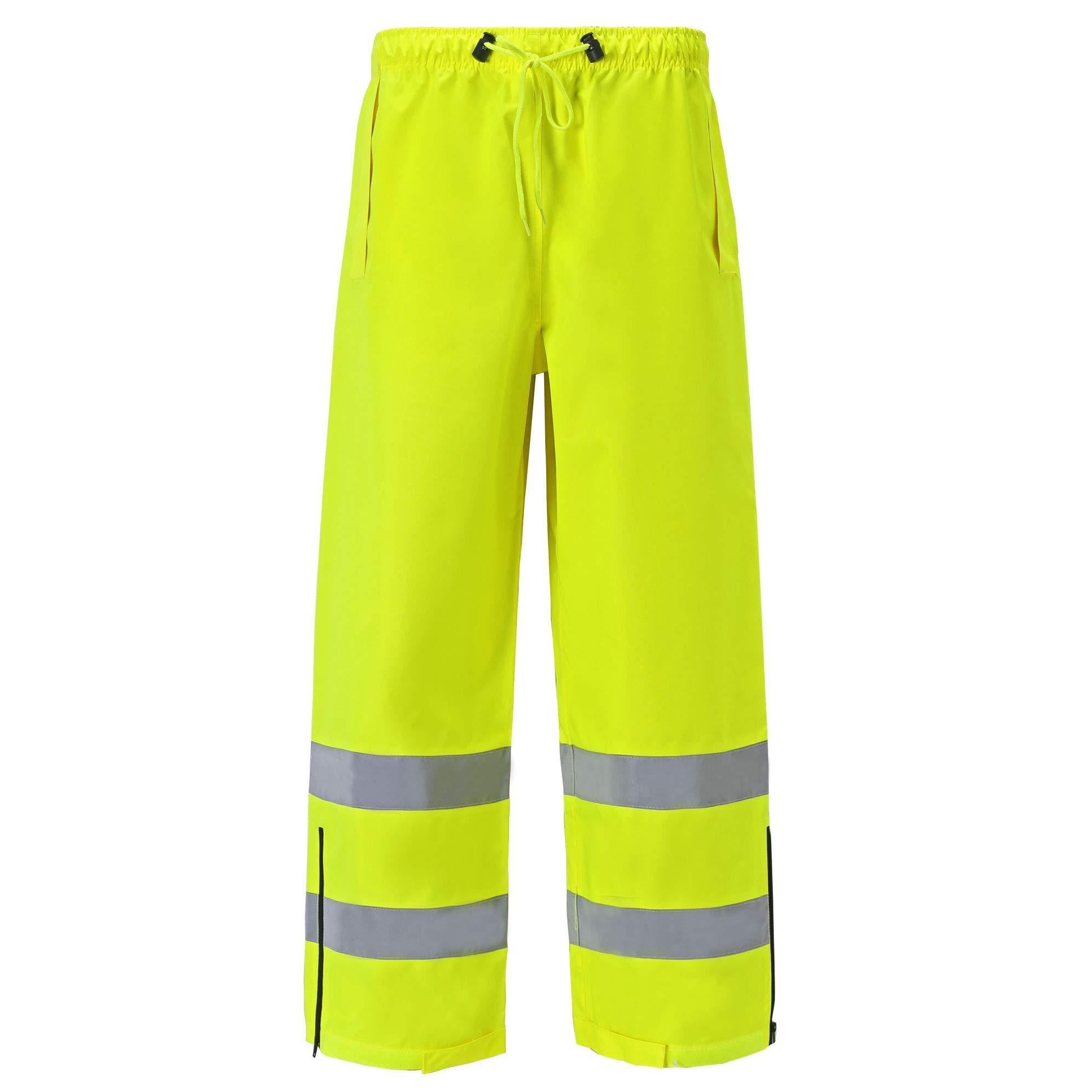 High Viz Rain Pants for Men and Women Waterproof Work Wear Water Resistant Ansi Class E Two Tone (Medium, Lime Yellow, 1 Piece)