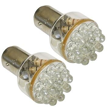 AERZETIX: 2 x Bombillas 12 LED 24V P21/5W Luz blanco C1706