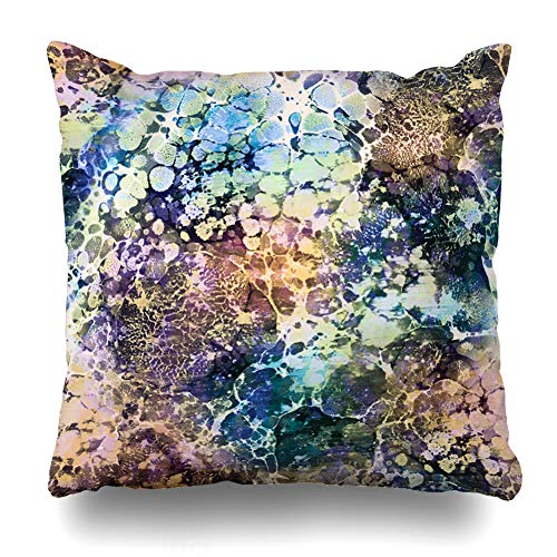 Ahawoso Throw Pillow Cover Blue Agate Abstract Pattern Marble Vintage Style Watercolor Antique Color Drawing Ebru Graphic Design Decorative Pillow Case 18x18 Inches Square Home Decor Pillowcase ()
