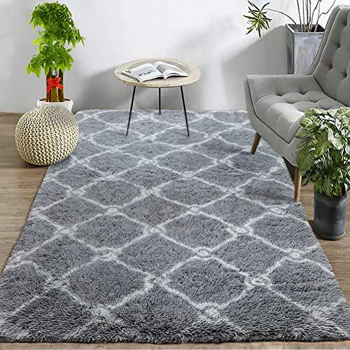 Wondo Luxury Velvet Shag Area Rug Modern Fluffy Fur Rugs,Premium Geometric Moroccan Floor Rug
