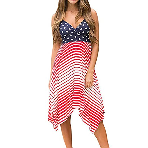 4755162f89 Amazon.com: CapsA Summer Dresses for Women Independence Day Women's Spring  Summer Polka Dot Striped Dress: Clothing