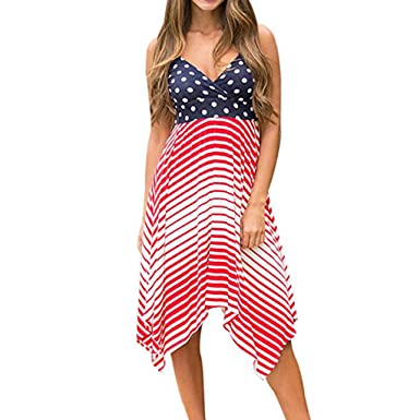 c4523f578366 Independence Day Women Fashion Wave Point Printed V Neck Strappy Sling  Irregular Hem Dress at Amazon Women's Clothing store: