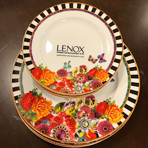 Eliza Stripe ((8) Melli Mello by Lenox Eliza Stripe Dinner Salad Plates NEW~)