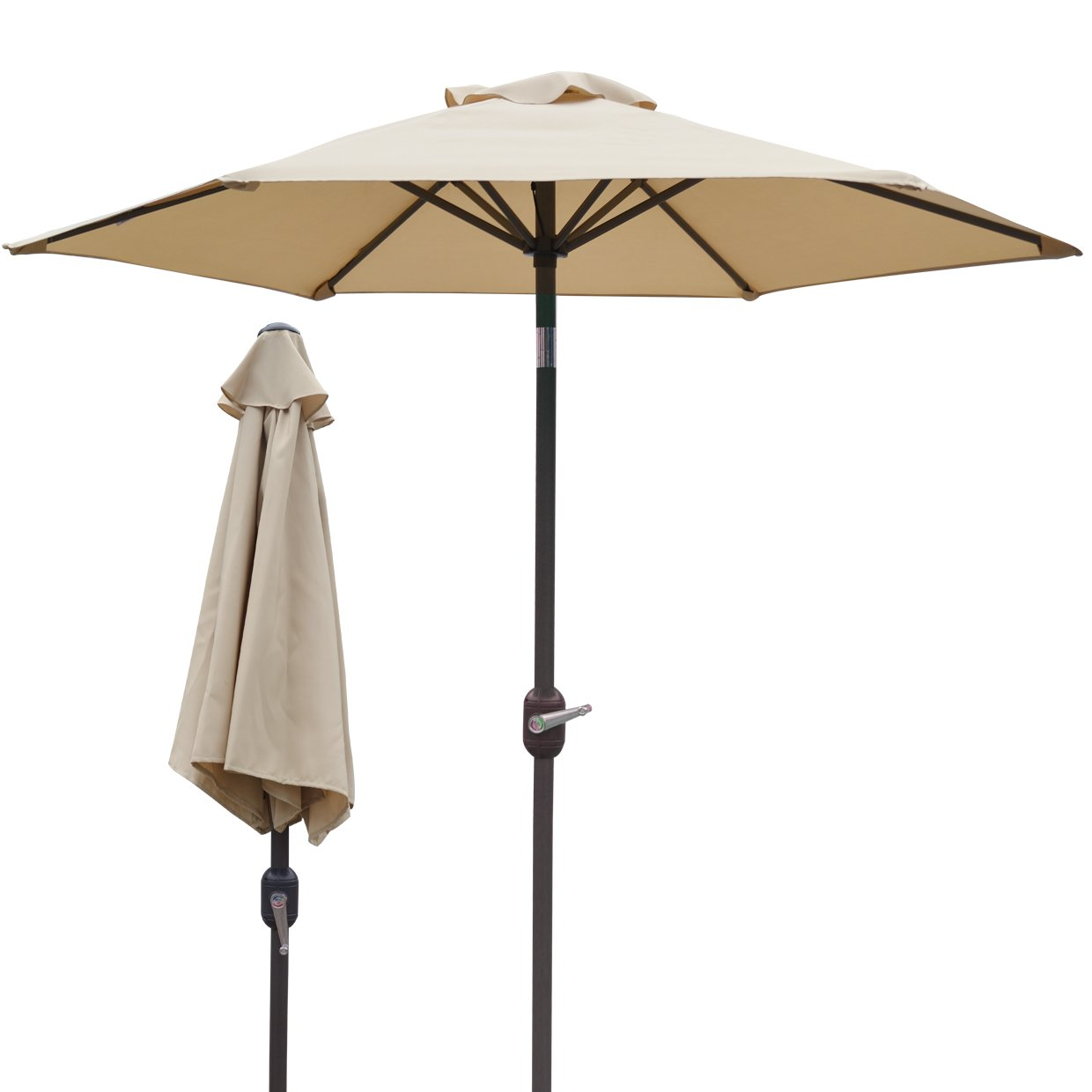 Strong Camel 6.5 2m PARASOL NEW PATIO GARDEN UMBRELLA SUNSHADE MARKET OUTDOOR-BEIGE