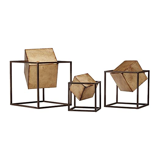 Madison Park Quad Cube Home D cor – 3 Piece Set Metal Accent Statue Modern Luxe Geomatric Art Sculpture Design Living Room Shelf Accessories, Multi Size, Black Gold