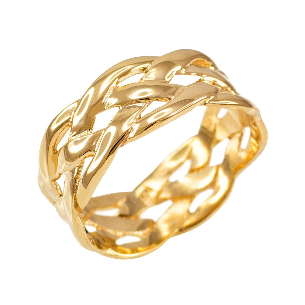 Celtic Weave Wedding Band in Polished 10k Yellow Gold (Size 10.5)