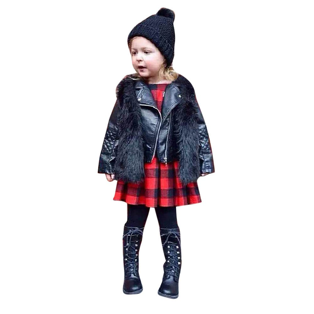 HOMEBABY Toddler Kids Baby Girl Faux Fur Waistcoat, Winter Warm Baby Clothes Girls Sleeveless Jacket Winter Body Vest Coat Fluffy Thick Coat Outwear for 3-8 Years