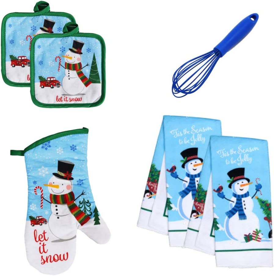Oven Mitt and Whisk Bundle Found Treasure Chest Modern Farmhouse Snowman Kitchen Towel Set with Pot Holders