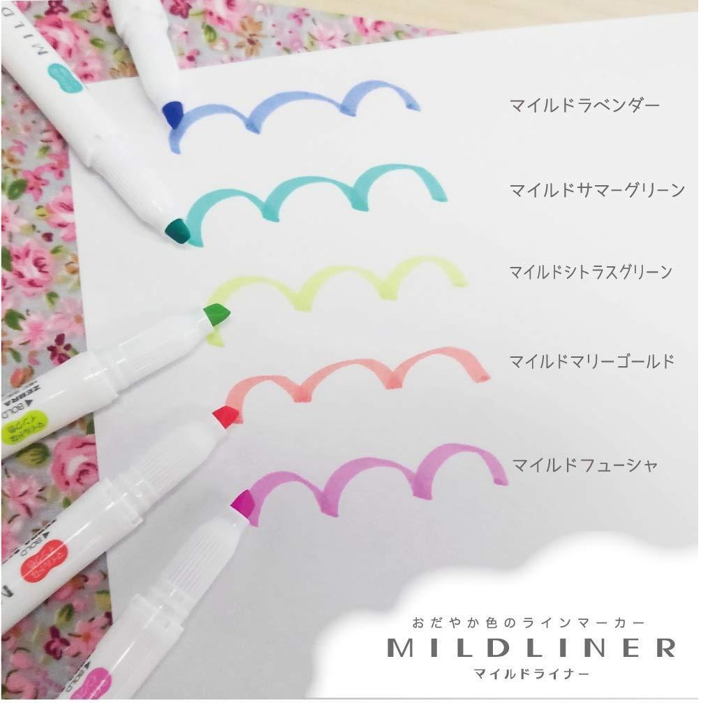 Zebra Highlighter Mildliner, 5 Bright Color Set (WKT7-5C-HC) 4 Pack by Zebra (Image #3)