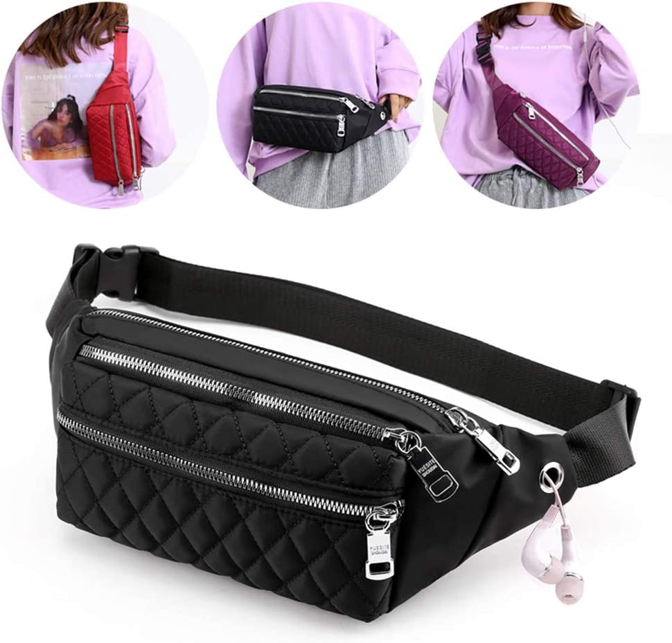 Voikukka Designer Fanny Pack Women Waterproof Fashion Travel Waist Bag Cool Belt Bag Quilted Crossbody Fanny Pack Purse