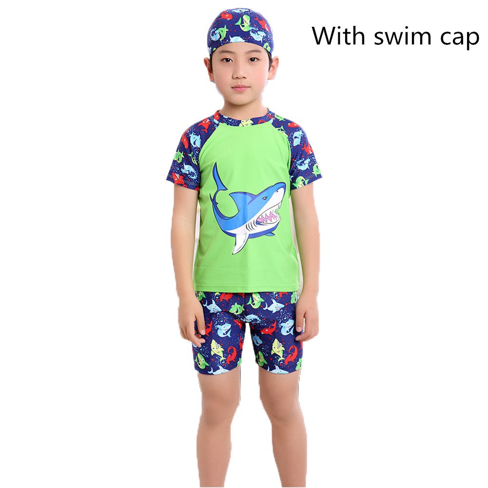Monvecle Boys' 3-Pieces Short Sleeve Sun Protective Rashgurad Swim Cap Set UPF 50+