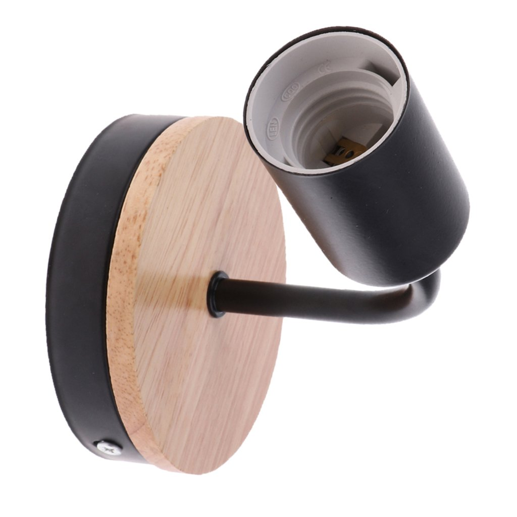 MagiDeal Vintage Sconce E27 Wall Loft Retro Lamp Light Holder with Wood Base Iron Plate - Black