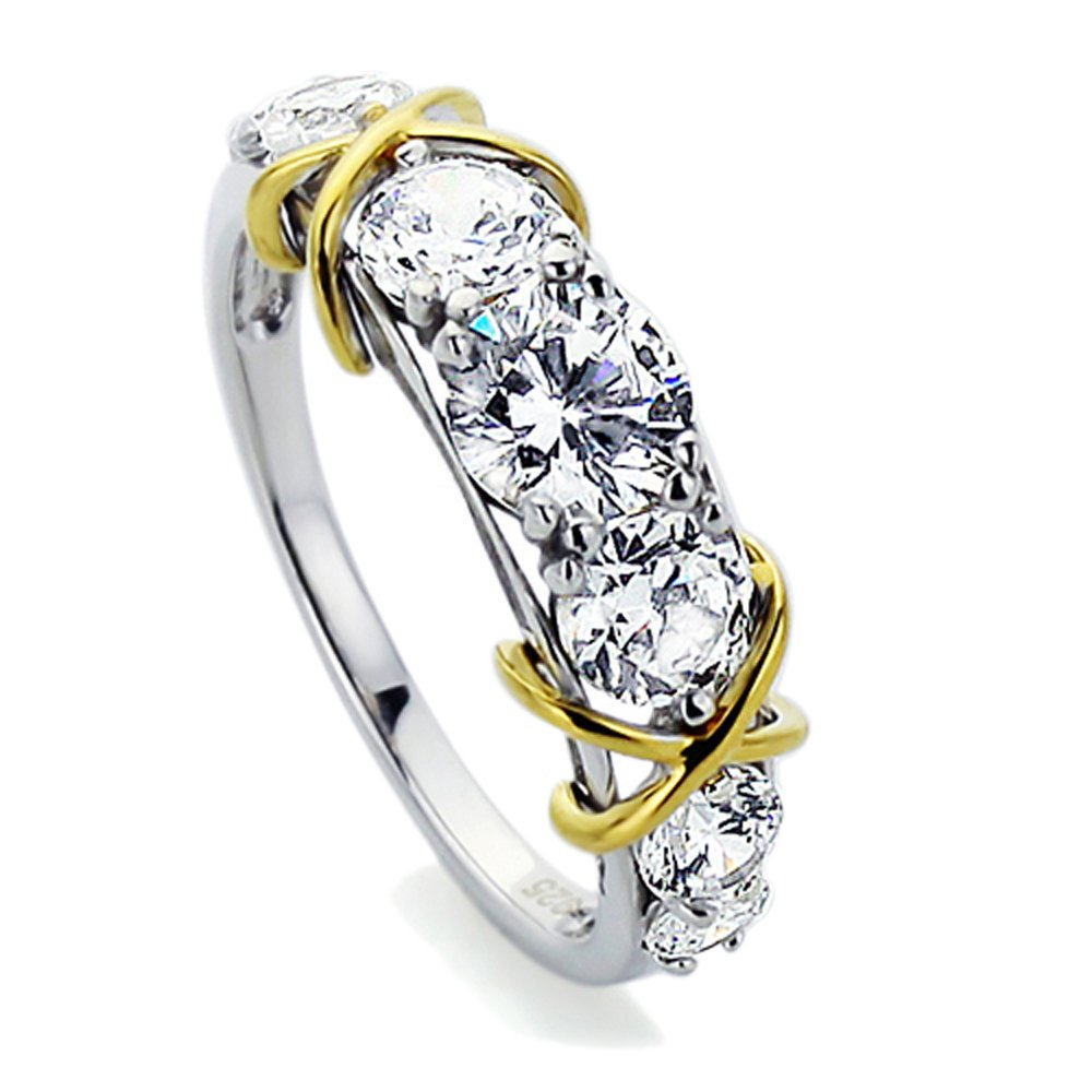 Double Accent Sterling Silver 14K Yellow Gold Plated Love Knot CZ Seven Stone Wedding Anniversary Ring (Size 5 to 9)