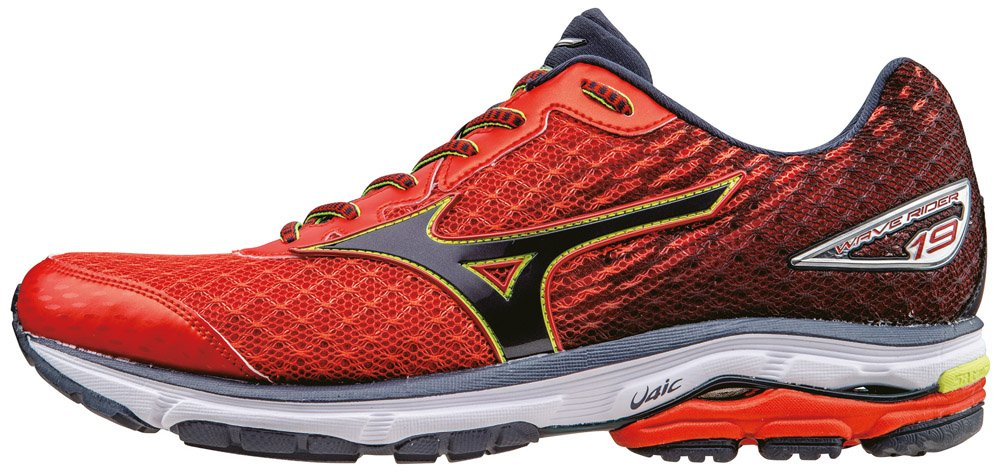 Mizuno Herren Wave Rider Trainingsschuhe, UK  405 EU|Rosso (Fiesta/Ombrebleue/Safetyyellow)