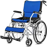 Premium Ultra-Lightweight Wheelchair with Handbrake and Cushion and Soft Armrest Pad for Extra Comfort,Lightweight Self-propelled Wheelchair,Portable and Folding with Aluminum Alloy,Blue,BigWheel