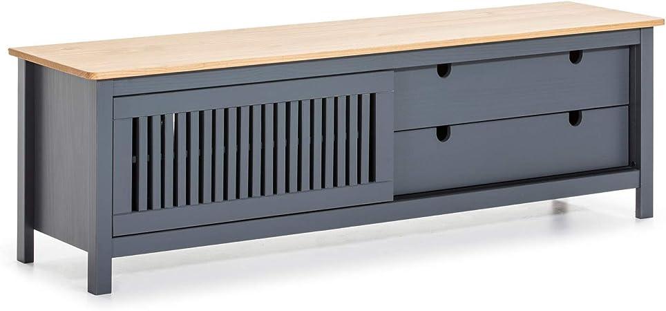 VS Venta-stock Mueble TV Bahía 2 Cajones y 1 Puerta, Color Gris Antracita, Madera Maciza, 158 cm (Largo) 40 cm (Profundo) 50 cm (Alto): Amazon.es: Hogar