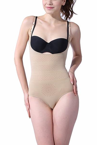 c723ef40241 KHAYA Women s Seamless Underbust Bodysuits One-Piece Shapewear with  Tourmaline X-Large Beige at Amazon Women s Clothing store