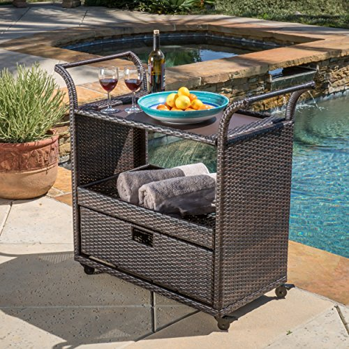 Small Outdoor Brown Wicker Drink Cart with Storage