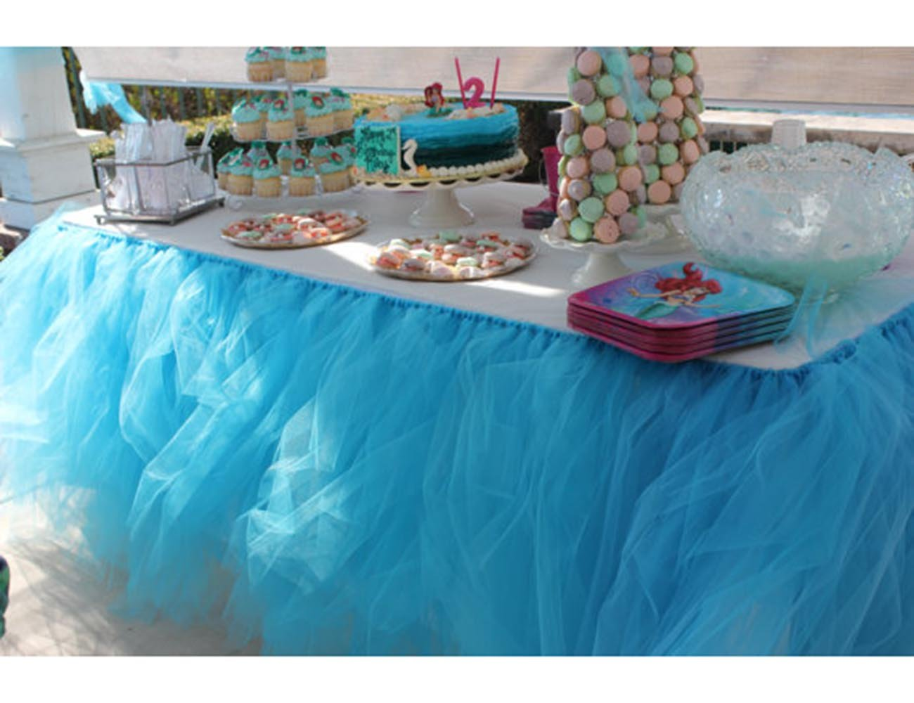 Tulle Tutu Table Chair Skirt for Wedding Birthday Party Baby shower Decoration (Blue, Table Skirt)