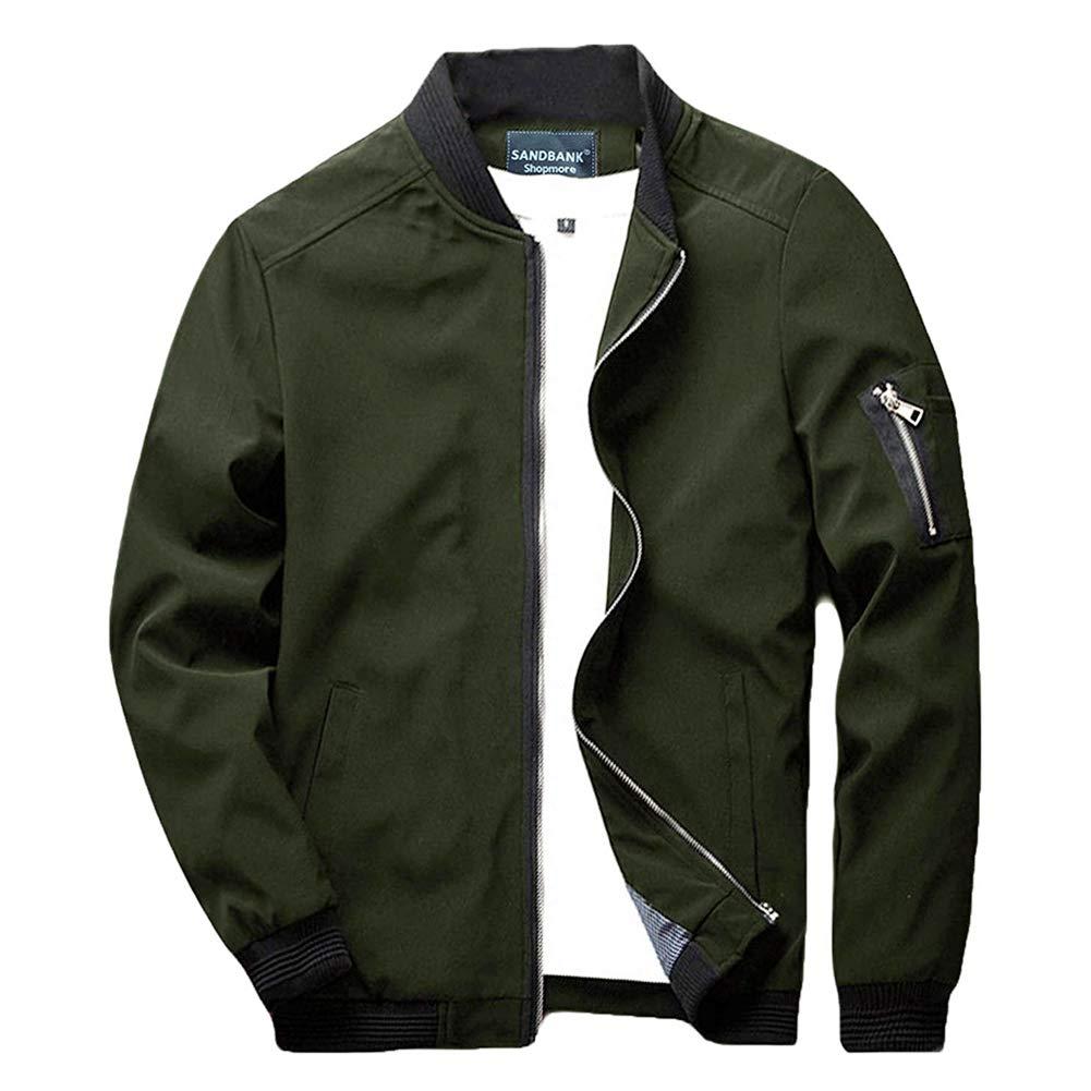 sandbank Men's Slim Fit Lightweight Sportswear Flight Bomber Jacket Softshell Casual Coat (Army Green, US L (Asian Tag 4XL)) by sandbank