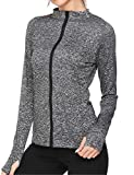 Soteer Women's Workout and Yoga Full Zip up Stretchy Fast-Dry Jacket Tee with Thumb Holes S-XXL