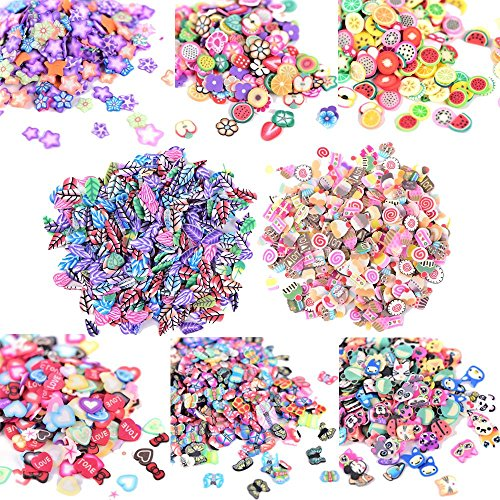 AiQueen 3750 Pieces Fimo Nail Art Slice 3D Polymer Clay Nail Art Tips Stickers Decoration Fruit Flower Fimo Slice for Nail Cellphone Decor,STYLE RANDOM