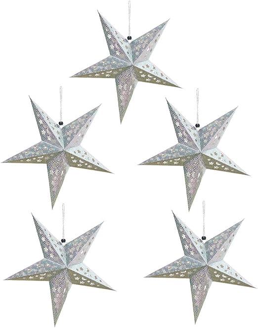 Osaladi Lot de 5 lanternes de No/ël en papier avec /étoile creuse et pentagramme /à suspendre pour d/écoration de f/ête de No/ël