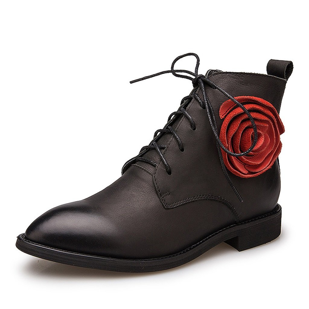 Women 's Martin boots spring and autumn retro flowers personality thin section short boots ( Color : Black , Size : US:6.5UK:5.5EUR:38 )