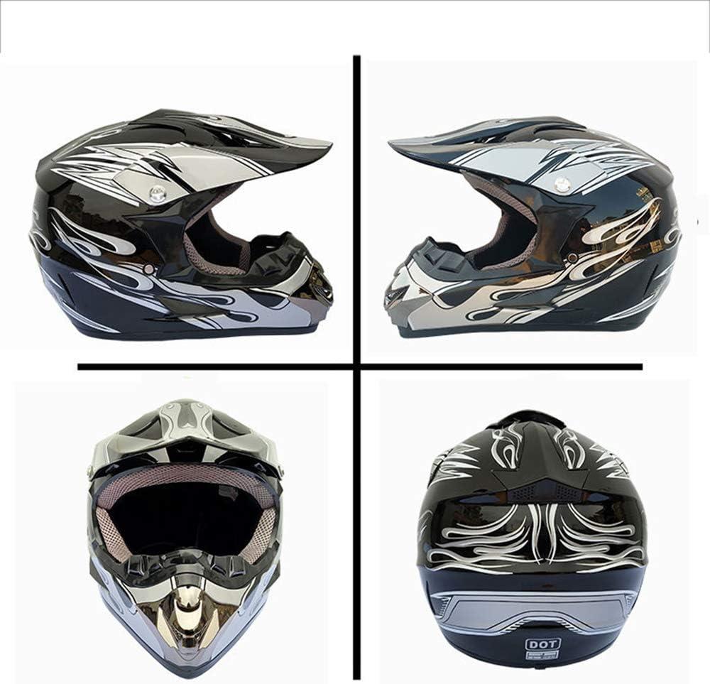 Unisex off-Road Casco Set MRDEER Casco da Motocross con Occhiali Maschera Guanti Caschi da Corsa da Strada per Casco Integrale da Corsa Cross-Country 4 PCS D.O.T Certificazione