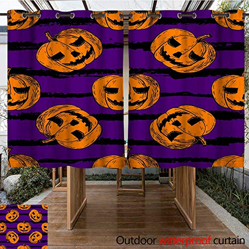 RenteriaDecor Outdoor Ultraviolet Protective Curtains Halloween Seamless Pattern W108 x -