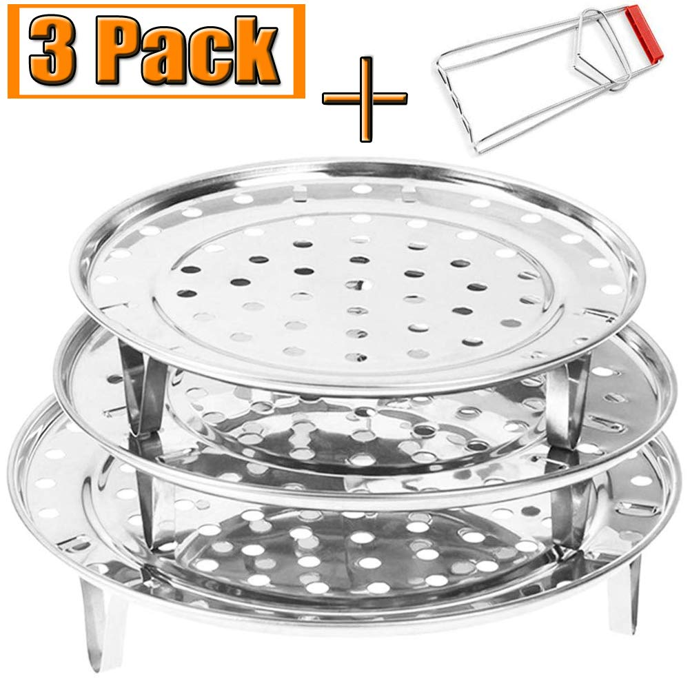 "Round Stainless Steel Steamer Rack 7.6"" 8.5"" 9.33"" Inch Steaming Rack Stand Canner Canning Racks Steamer Stock Pot Steaming Tray Pressure Cooker Cooking Toast Bread Salad (3 Pack with Clip)"