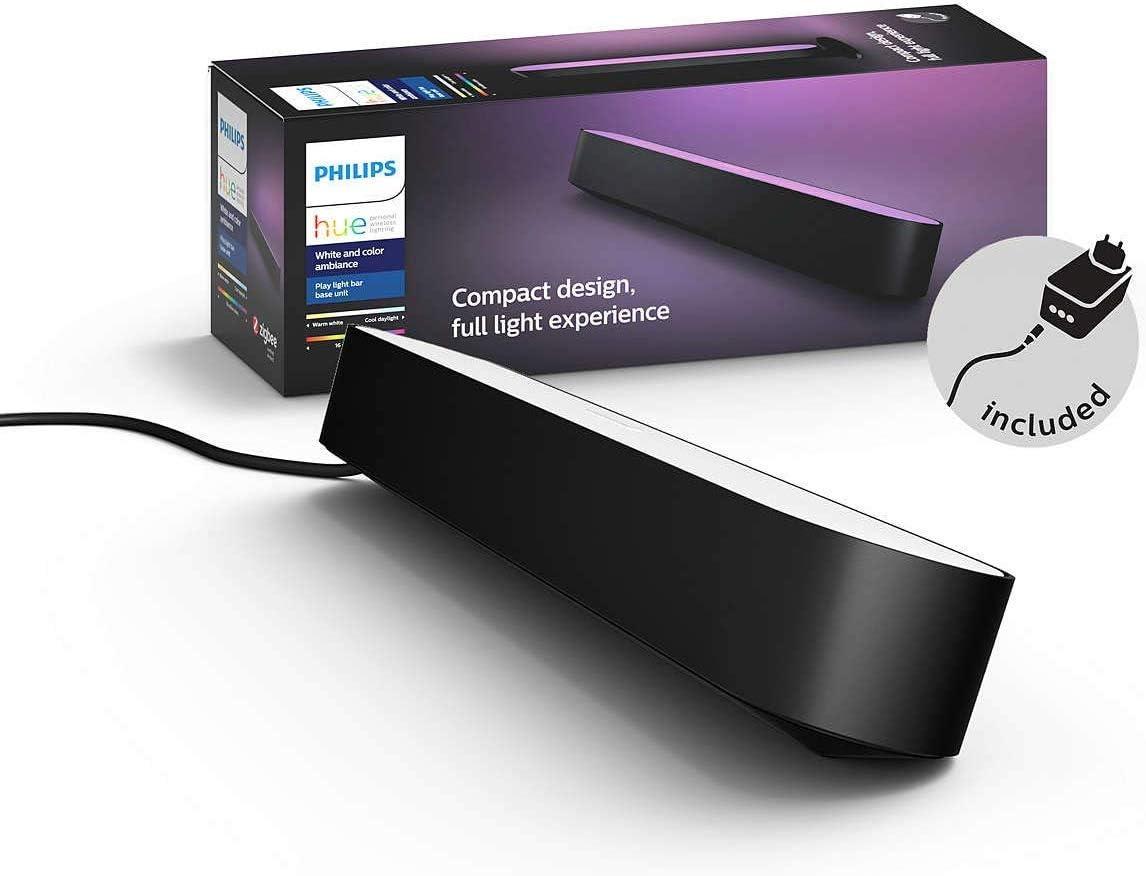 Philips Hue Play Barra de luz regulable compatible con Amazon Alexa, Apple HomeKit y Google Home, luz blanca y de colores, requiere conexión a puente Hue, negra, incluye alimentador (1 unidad)