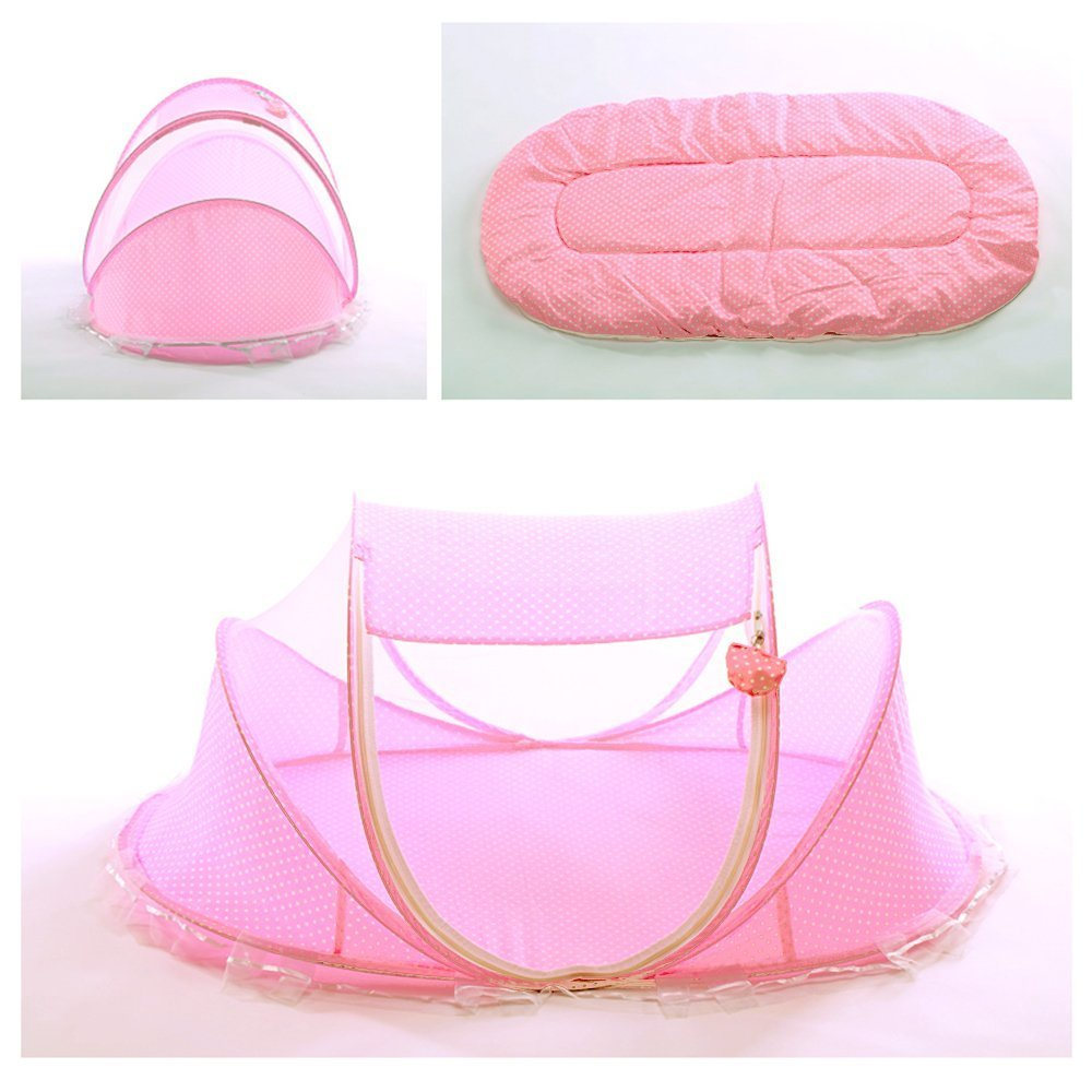 SUPOW Baby Mosquito Net Bed, Portable Infant Tent Folding Infant Travel Crib Mosquito Bed Summer (Pink/)