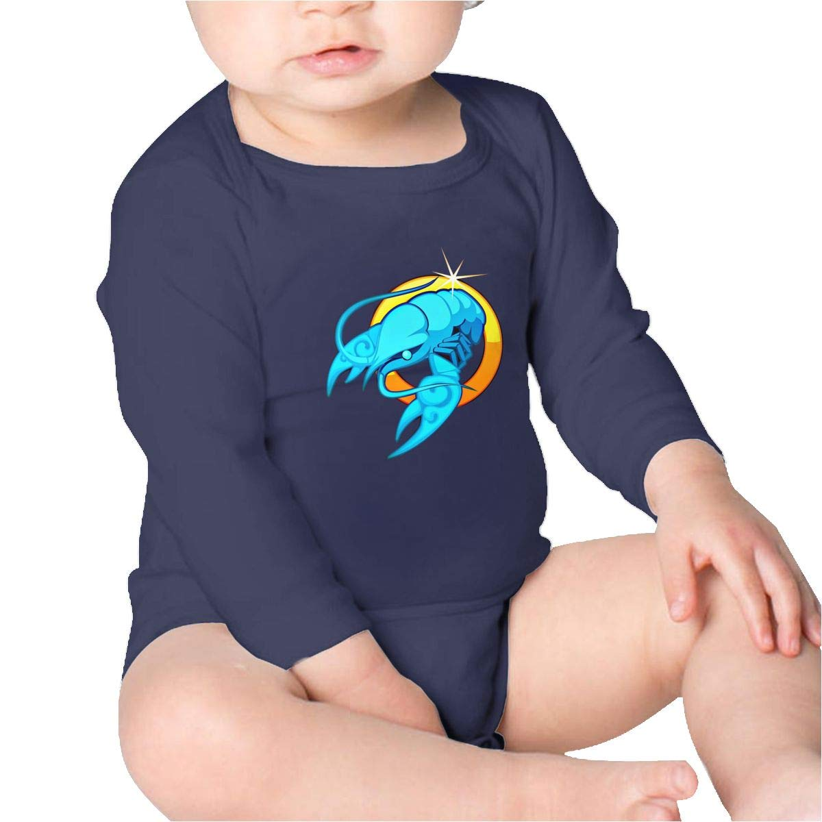 Pikaqiuleilei Lobster Girls Cotton,Long Sleeve Baby Romper