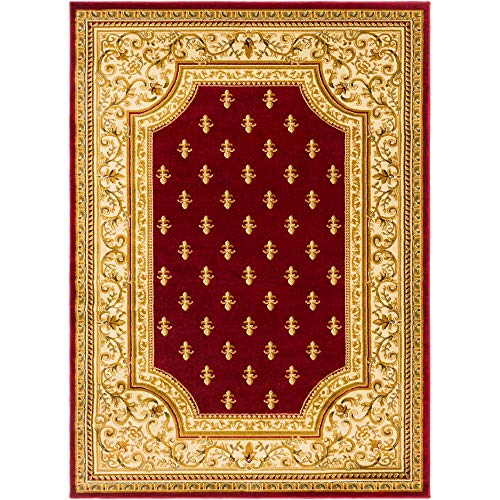 (Tiwari Home 5.25' x 7.25' Currant Red and Ivory Oriental Patterned Rectangular Area Throw Rug )
