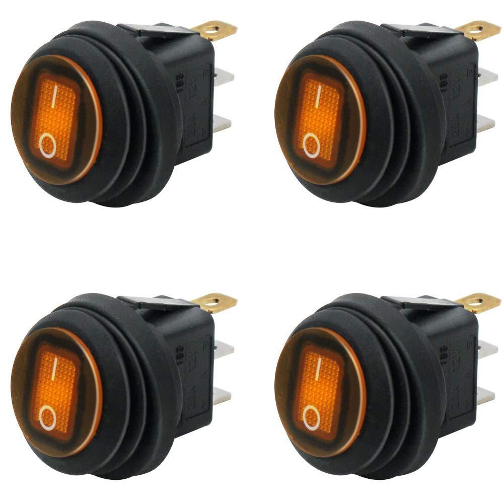 4Pcs 12V LED LIGHT ILLUMINATED TOGGLE SWITCH CONTROL BOAT DASH BOARD SPST ON//OFF