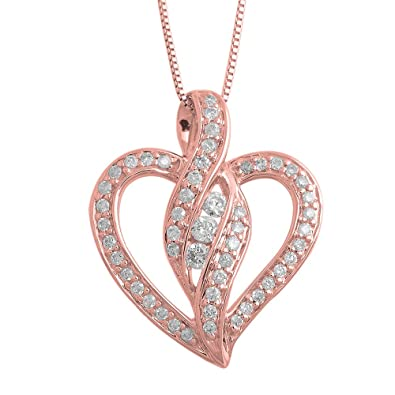 Amazon igi certified 14k rose gold heart diamond pendant amazon igi certified 14k rose gold heart diamond pendant necklace 028 carat jewelry mozeypictures Image collections