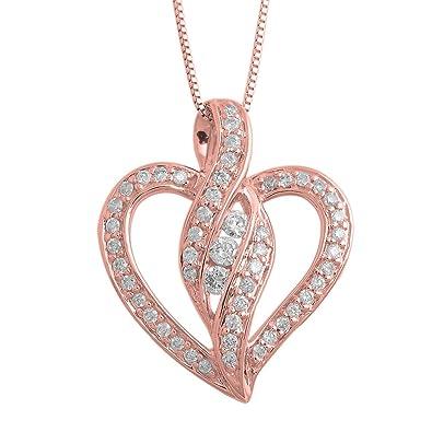 Amazon igi certified 14k rose gold heart diamond pendant igi certified 14k rose gold heart diamond pendant necklace 028 carat aloadofball Choice Image