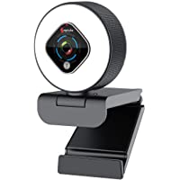 Streaming Webcam 1080P with Ring Light - HD Web Camera with Digital Zoom Autofocus for Computer PC Laptop Mac - Angetube…