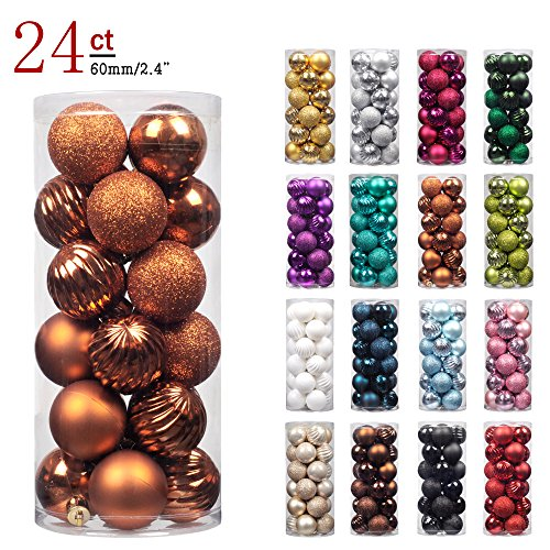 "KI Store 24ct Christmas Ball Ornaments Shatterproof Christmas Decorations Tree Balls for Holiday Wedding Party Decoration, Tree Ornaments Hooks included 2.36"" (60mm Bronze) (Sale Christmas Decoration Tree)"