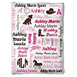 Have Faith Boutique Personalized Baby Blanket with Name- 30''x40''- Velveteen Fleece - Cowgirl